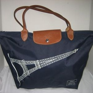 LONG CHAMP Eiffel Tower Graphic Navy Blue Tote Bag